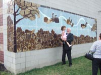 Garfield Elementary's new clay relief and glass mosaic mural.